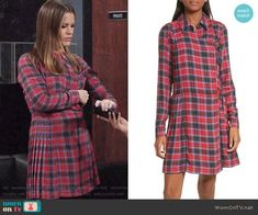 Chelsea's red plaid shirtdress on The Young and the Restless. Outfit Details: https://wornontv.net/91172/ #TheYoungandtheRestless
