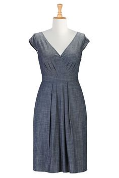 I <3 this Surplice fit-and-flare chambray dress from @eShakti.com Great options for curvy girls.