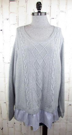 7136c5f188 Crown   Ivy Curvy Womens 2fer Sweater Tunic 3X Gray Aran Cable Oxford  Stripe Hem