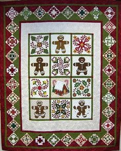 "Quilted Gingerbread Joy, 76"" x 93"", by Sue Garman as seen at Quilt Inspiration"