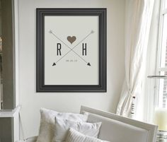 Personalized Valentines Day Gift Art Print // Custom Valentines Day Present // Wedding Gift // Housewarming Gift // Love Heart and Arrows. $24.00, via Etsy.