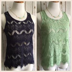 "2 for LESS THAN the price of 1! EUC. No signs of wear. Navy blue and mint green. Zipper at top back. Frayed hem. ⭐️Bust: 34"" ⭐️Length: 24"" Forever 21 Tops"