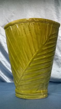 Free Shipping..Large decorative green vase with leaf print by GlassyBlue on Etsy
