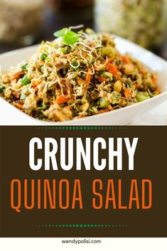 I really want to try new gluten-free quinoa salad recipes and this Crunchy Quinoa Salad looks so good! I can't wait to cook this easy meal for my family. It looks like the perfect vegan lunch. SO PINNING! #wendypolisi #glutenfree #glutenfreerecipes #healthyrecipes #quinoasalad Quinoa Recipes Easy, Vegetarian Salad Recipes, Potluck Recipes, Vegan Potluck, Vegan Recipes, Dinner Recipes, Cooking Recipes, Easy High Protein Meals, Dinner Salads