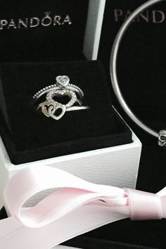Hearts never go out of fashion. Stack heart-shaped rings for a cute look. #PANDORA #PANDORAring
