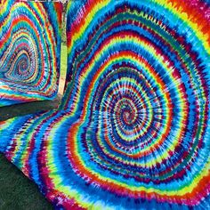 Rainbow spiral tie dye tapestries made on a queen size flat sheet. PARADISIACDYES.COM specializes in hand dyed, one of a kind tie dye clothing, bedding, tapestries, up-cycled fashion & far beyond! Originally established in 2014 as shops 'Beach Bum Tie Dye' & 'Hippie Made Hemp Co.' on Etsy and later evolved to our own standalone Shopify website. Request your custom made tie dye order today! Tie Dye Bedding, Tie Dye Tapestry, Spiral Tie Dye, Tie Dye Outfits, Cotton Style, Fruit Of The Loom, Beach Bum, Tapestries, Queen Size