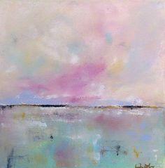 Blue Pink Seascape Painting Original Art - Pretty Sea 16 x 16 on Etsy, $225.00