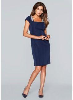 Fodralklänning med pärldekor, bpc selection premium, mörkblå