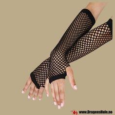 Et par underarmslange, svarte nettinghansker. Materiale: 88% nylon og 12% spandex Mål: Onesize med god stretch, passer de aller fleste.