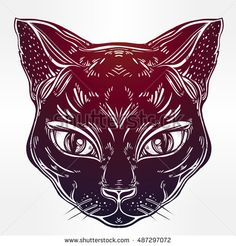 Black cat head portrait with big eyes. Ideal Halloween background, tattoo art, Egyptian, spirituality, boho design. Perfect for print, posters, t-shirts and textiles. Vector illustration.