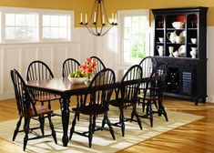 32 Inspiring Farmhouse Black Table Design Ideas To Manage Your Dining Room Two Tone Kitchen Cabinets, Painting Kitchen Cabinets, Dark Table, Dining Table Legs, Kitchen Tables, Dinning Set, Liberty Furniture, Dining Room Furniture, Room Chairs