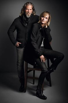 Jeff Bridges with model/actress Amber Valletta during a photo shoot promoting the 2013-14 Marc O'Polo fashion line.  God, he looks HOT!