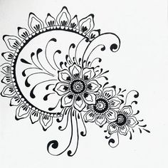 Tatoo and henna. Henna Patterns, Zentangle Patterns, Embroidery Patterns, Henna Doodle, Doodle Art, Henna Tattoo Designs, Mehndi Designs, Coloring Books, Coloring Pages