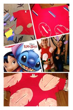 Lilo and Stitch DIY Halloween Costume #lilo #stitch #couplecostume #diy Lilo: Red Shirt (used white fabric paint to paint the leaves) Stitch: Thrifted plain Blue Dress DIY collar and ears (used thin craft foam) Ukelele (painted toy guitar from Dollar Store) DIY leaf bracelets (bought decorative garland from Michaels and wrapped/secured around our wrists)