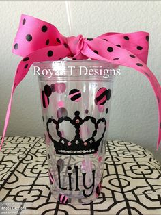 16oz Personalized Crown Tumbler with Pink & Black by RoyalTDesigns, $16.00