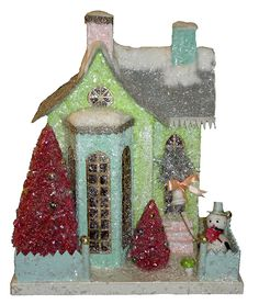 """Cody Foster Reproduction  WINTER GREEN COTTAGE WITH 90 SNOWMAN  Paper Pulp 13x11x8"""""""