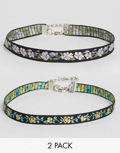 Image 1 ofASOS Pack of 2 Wallflower Skinny Choker Necklaces