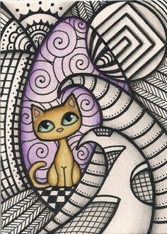 ACEO Zentangle with Orange Cat Original Art | eBay