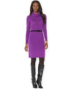 Lauren Ralph Lauren Dress, Long-Sleeve Cowl-Neck Sweaterdress - Dresses - Women - Macy's