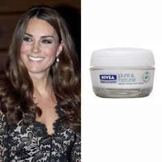The Duchess of Cambridge's bargain beauty buy is day cream which contains organic, natural ingredients to help keep skin moisturised.     Nivea Visage Pure and Natural Moisturising Day Cream - £5.35 - Boots