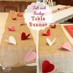 This burlap table runner is genius! The little hearts almost look like butterflies. This DIY will make a great addition to our Valentine's day.