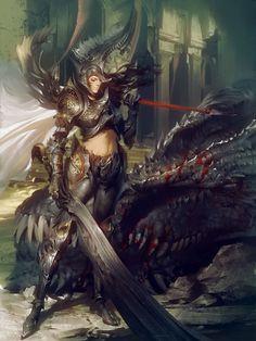 Artist: Marat Ars - Title: Dragonslayer Vanness 2 - Card: Hope-Bearing Enesia (Conferred)