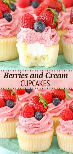 These Berries and Cream Cupcakes are made with moist vanilla cake, whipped almond filling and mixed berry frosting! They're topped with more fresh berries for a cupcake that's delicious and perfect for summer!
