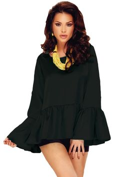 Chicloth Black Flounce Wide Sleeves High Low Hem Blouse
