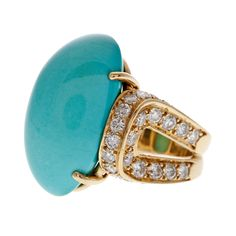 Persian Turquoise and Diamond Dome Ring image 2