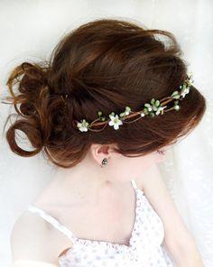 green / white hair circlet - PIPPA - bridal or flower girl head wreath. $62.00, via Etsy.
