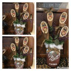 Mason jar and wooden hand painted by Celina gingerbread spoons! Gingerbread Men, Wooden Hand, Spoons, Primitive, Mason Jars, Crafting, Hand Painted, Holidays, Christmas Ornaments