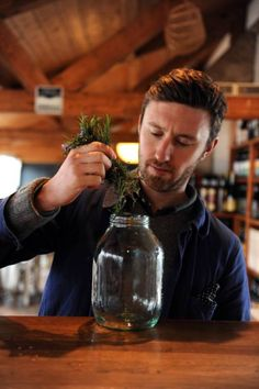 Jack Bevan gets to work on creating his vermouth cocktail (Picture: Richard Lappas)