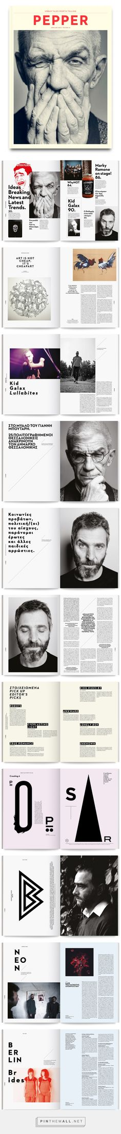 Pepper Magazine on Behance. - a grouped images picture - Pin Them All Magazine Design Inspiration, Magazine Layout Design, Graphic Design Inspiration, Graphisches Design, Creative Design, Print Design, Design Editorial, Editorial Layout, Book Cover Design