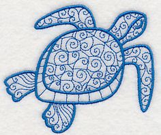 and Lovely Sea Turtle design from Advanced Embroidery, Beaded Embroidery, Cross Stitch Embroidery, Hand Embroidery, Colchas Quilting, Turtle Quilt, Turtle Pattern, Free Machine Embroidery Designs, Sewing Projects