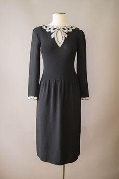 vintage 1980s dress / 80s black knit party by HungryHeartVintage