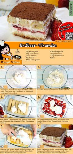 Erdbeer-Tiramisu Rezept mit Video - Leckere Nachtisch Rezepte Tiramisu in a different way. Creamy with fresh fruits . that's strawberry tiramisu! You can easily find the strawberry tiramisu reci Köstliche Desserts, Sweet Desserts, Delicious Desserts, Fruit Recipes, Cookie Recipes, Dessert Oreo, Tiramisu Dessert, Tiramisu Cookies, Sweets