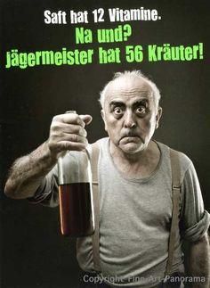 Postkarte mit lustigen Sprüchen – Saft hat 12 Vitamine. Na und? Jägermeister hat 56 Kräuter! Postkarten Lustige Sprüche