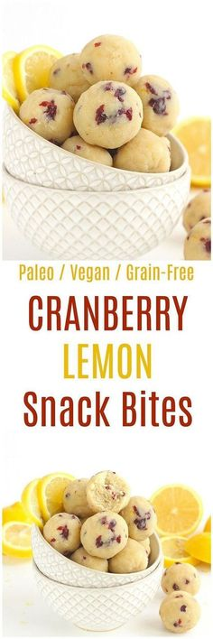 Cranberry Lemon Bites - These Cranberry Lemon Bites are the perfect paleo and vegan snack. Made from a combination of almond flour and coconut flour, these grain-free bites are deliciously tart! paleo dessert with coconut flour Paleo Dessert, Gluten Free Desserts, Vegan Desserts, Paleo Recipes, Whole Food Recipes, Snack Recipes, Cooking Recipes, Cranberry Recipes Healthy, Cooking Cake