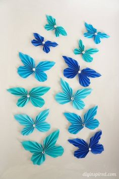 So addicting to make! DIY Accordion Paper Butterflies with- Put them on paper lanterns for a party or child's bedroom or playroom or use for paper crafting.