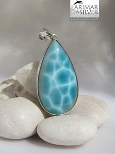 Amazing translucent teal blue Larimar teardrop by Larimarandsilver
