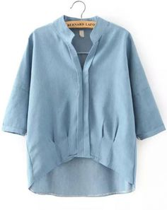 Buy Blue Stand Collar Dip Hem Denim Blouse from abaday.com, FREE shipping Worldwide - Fashion Clothing, Latest Street Fashion At Abaday.com