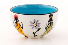 African Ladies Ceramics – Thumbprint Artifacts Snack Bowls, Hand Painted Ceramics, Artisan, Turquoise, Lady, Tableware, Gifts, Handmade, Blue