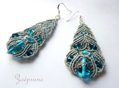 Boucles d'oreilles gris argenté perles bleues ultra légères