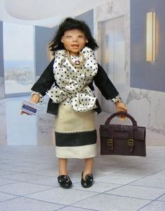 OOAK Miniature Dollhouse Woman Doll Oriental 1:12th Size Original Artist