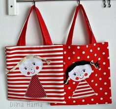 with doll to be in kindergarten (polka dot) / Hama seller& goods, Sewing Aprons, Sewing Toys, Sewing Crafts, Sewing Projects, Fabric Handbags, Fabric Purses, Fabric Bags, Sewing Stitches By Hand, Cushion Embroidery