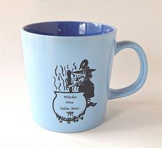 Witches Brew Salem MA Large Coffee Mug Blue 14 oz Halloween Witch Cauldron #Unknown