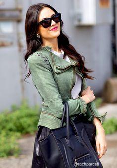 Studded Shoulder Denim Blazer - Green - Elegantly Styled Zipper Denim Blazer