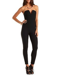 Deep V Skinny Strapless Jumpsuit: Charlotte Russe Strapless Jumpsuit, Online Dress Shopping, Charlotte Russe, Dresses Online, Skinny, People, Deep, Party, Fashion