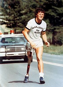 "Terrance Stanley ""Terry"" Fox CC OD (July 1958 – June was a Canadian athlete, humanitarian, and cancer research activist. In with one leg having been amputated, he embarked on a cross-Canada run to raise money and awareness for cancer research. Canadian Things, I Am Canadian, Canadian History, Canadian People, Maggie Smith, We Are The World, In This World, Everton, Westminster"