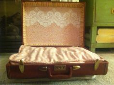 Feminine pet bed in antique suitcase by JILLSPETBEDS on Etsy